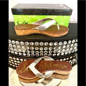 Sam Edelman Silver Platform Flip-flops, size 8.5